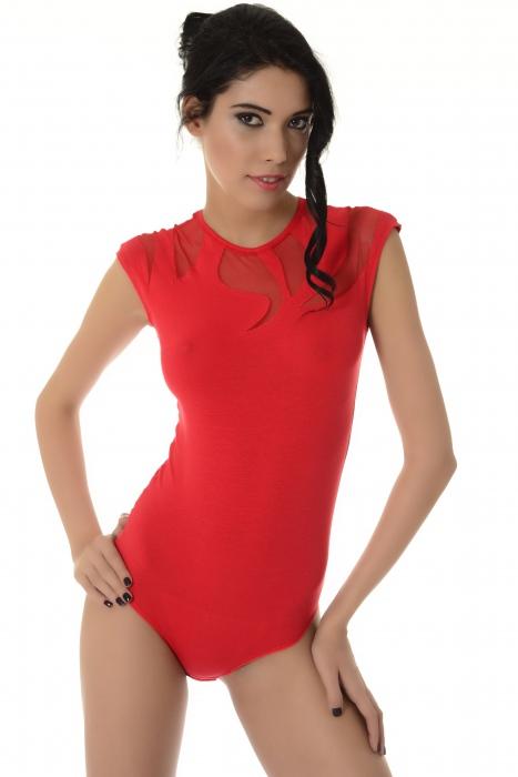 Ladies sans manches body décoration de tulle délicate string 1443