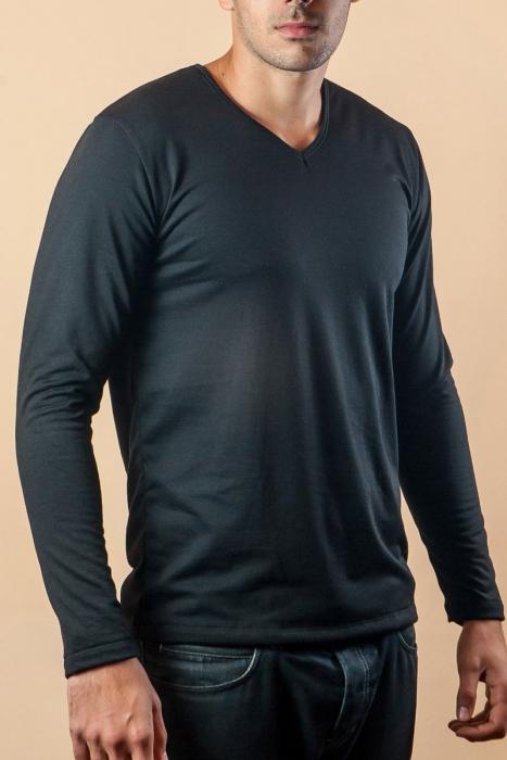 Thermo T-shirt manches longues coton cardé col en V 15-135