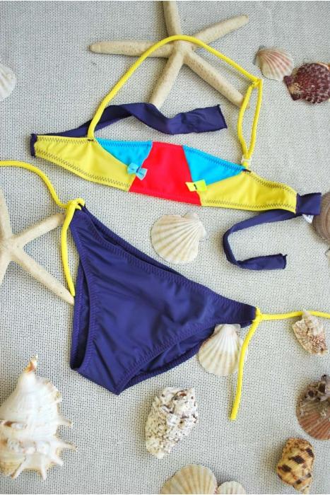 Maillot de bain Bikini pour enfant bando fonds avec cravates 1113