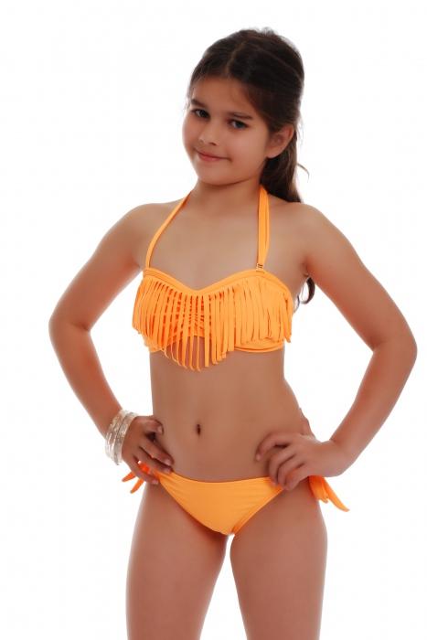 Maillot de bain Junior Bikini Bando Macrame Bottom Ribbons Tie Side 1116