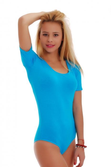 Coton ronde encolure dégagée Bodysuit manches courtes Bikini 1445