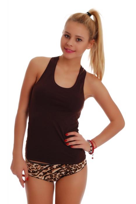 Débardeur à débardeur pour femme Open Back & Boyshorts Panties Leopard 1308-1065