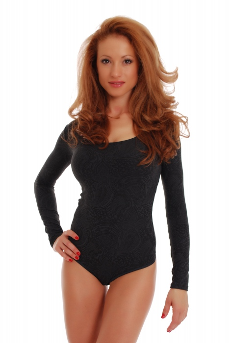 Microfibre Womens Bodysuit Collier rond Long Sleeve Thong 1478