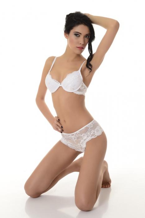 Élégant Ladies Set Soutien-gorge et culottes élégant 5612 blanc
